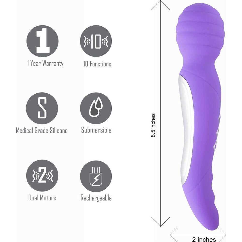 "Maia Zoe Twistty Rechargable Dual Vibrating Wand 8.5"" Neon Purple - View #1"