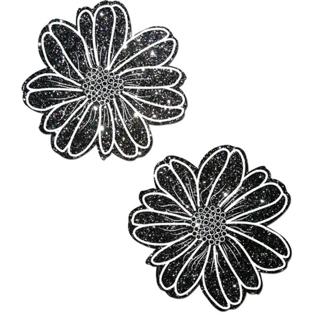 Tease Wildflower Nipple Pasties One Size Black Glitter with White Flower - View #1