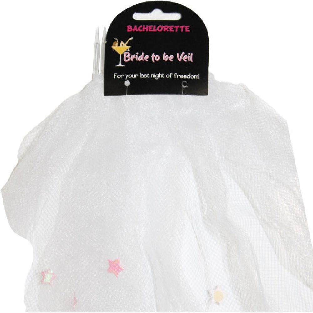 Veil with Decorations Birthday White - View #1