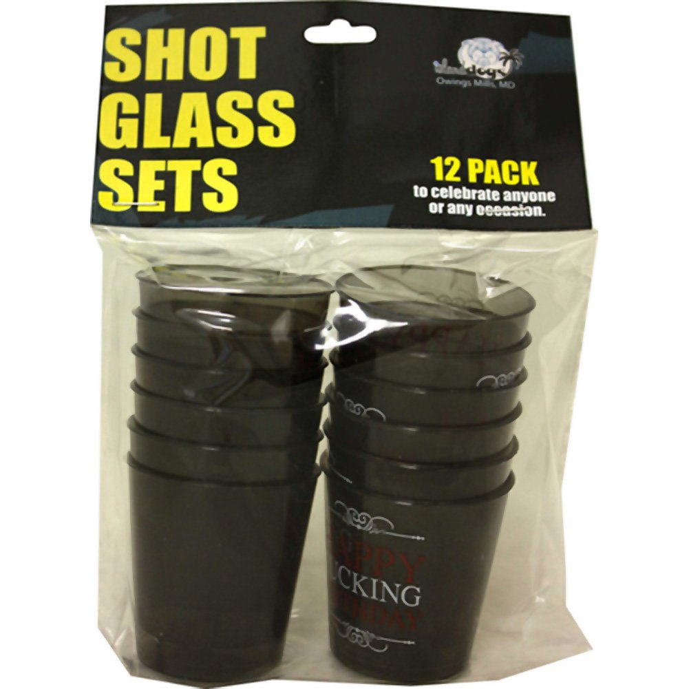 Happy Fucking B-Day Shot Glass Set 12 Piece Pack - View #2