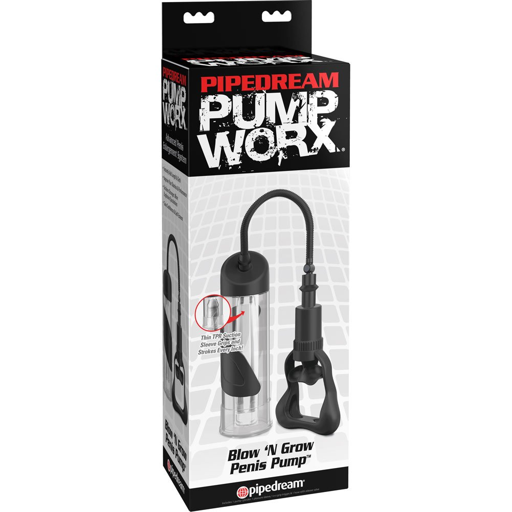 "Pipedream Pump Worx Blow N Grow Penis Pump Clear 7.5"" - View #1"