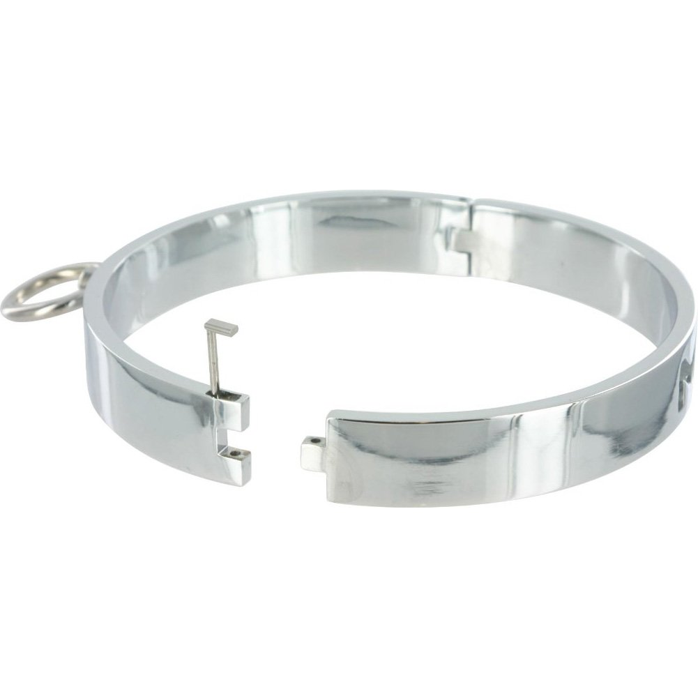 Master Series Chrome Slave Collar Med/Large Silver - View #1