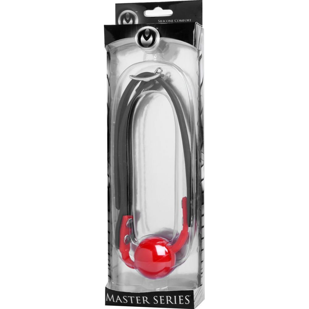 Master Series Adjustable Silicone Hush Ball Gag Red - View #1