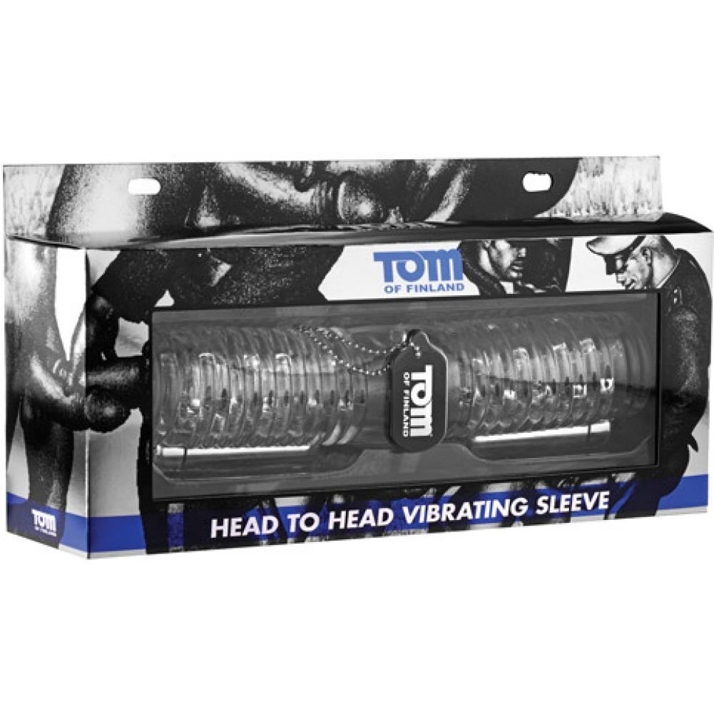 "Tom of Finland Head to Head Vibrating Sleeve Stroker 10.5"" Clear - View #1"
