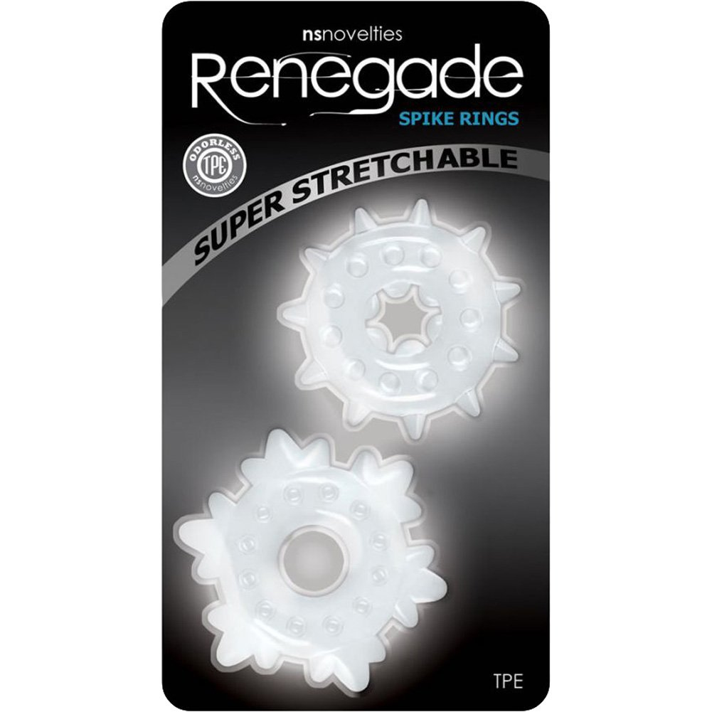 NS Novelties Renegade Spike Rings Clear Set of 2 - View #1