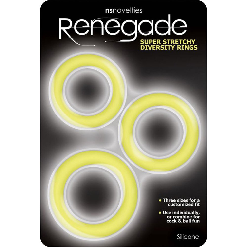 NS Novelties Renegade Diversity Silicone Cock Rings Yellow - View #1