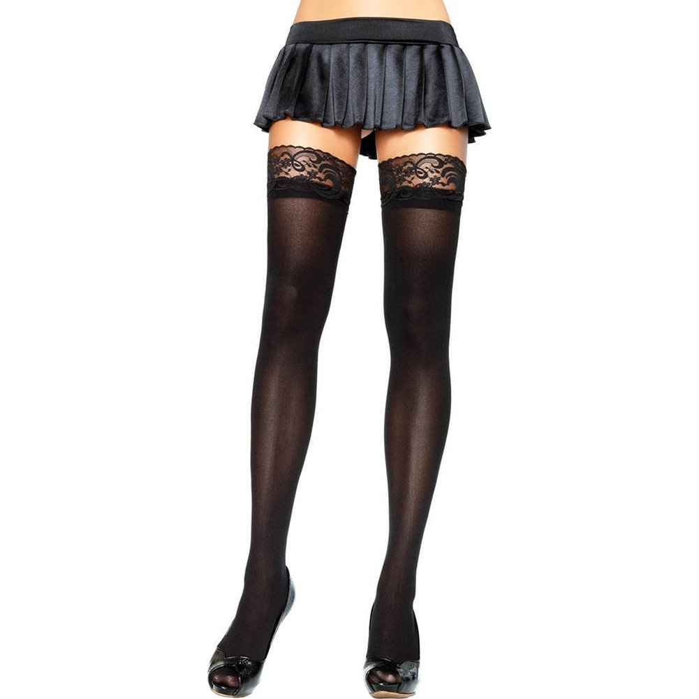 Leg Avenue Nylon Stockings with Lace Top One Size Black - View #1
