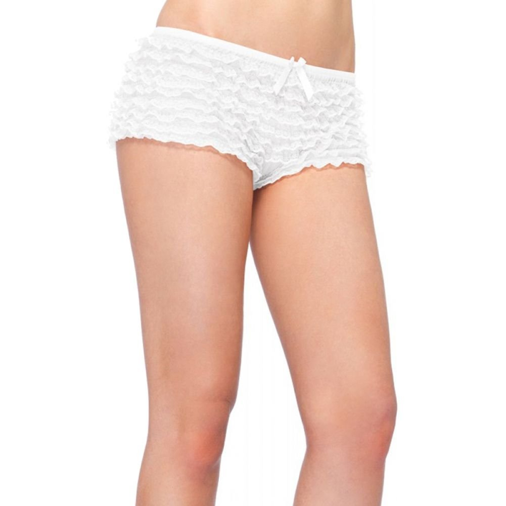 Leg Avenue Micromesh Ruffle LaceTanga Shorts One Size White - View #1