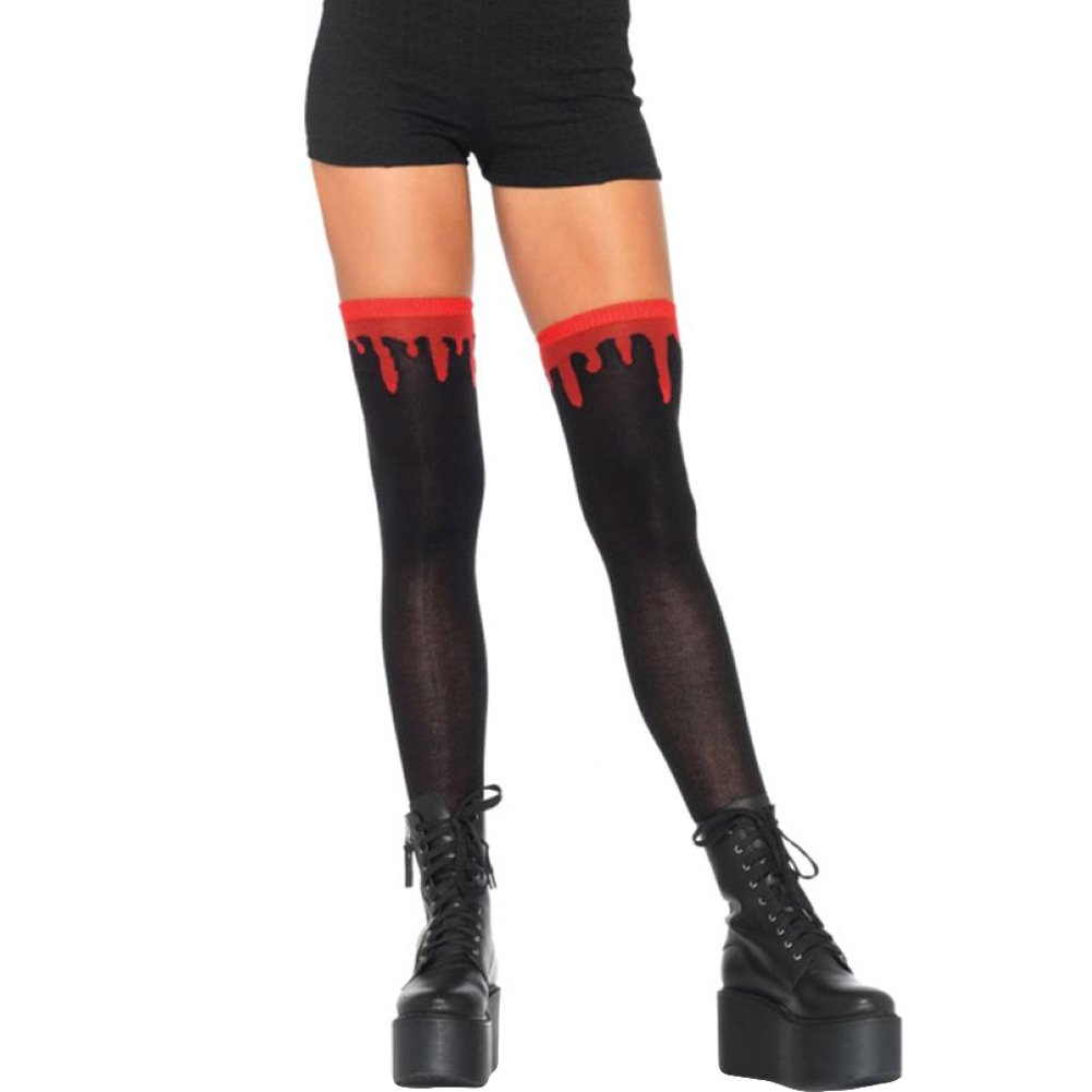 Leg Avenue Dripping Blood Over the Knee Socks One Size Black - View #1