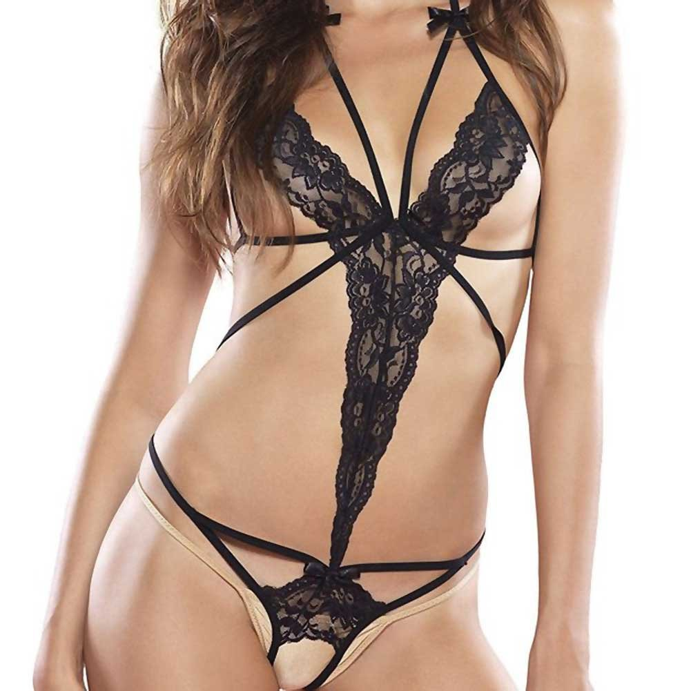Leg Avenue Cage Strap Lace Teddy with Blindfold OS Black - View #2