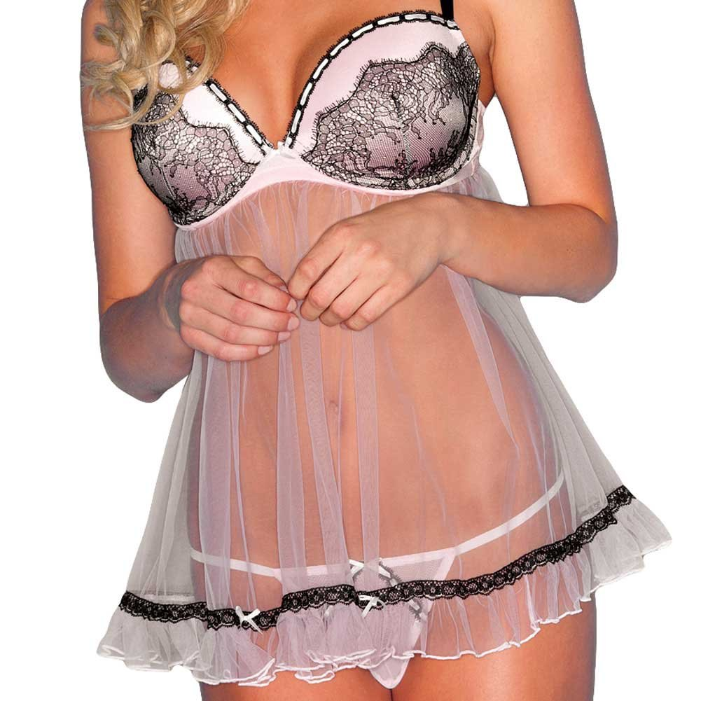 Sheer Chemise with Lace and Padded Cups and Thong Pink 3X 4X - View #3
