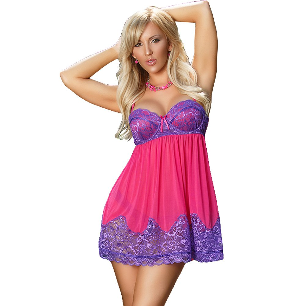 Sheer Passion Baby Doll and Thong Purple Large - View #1
