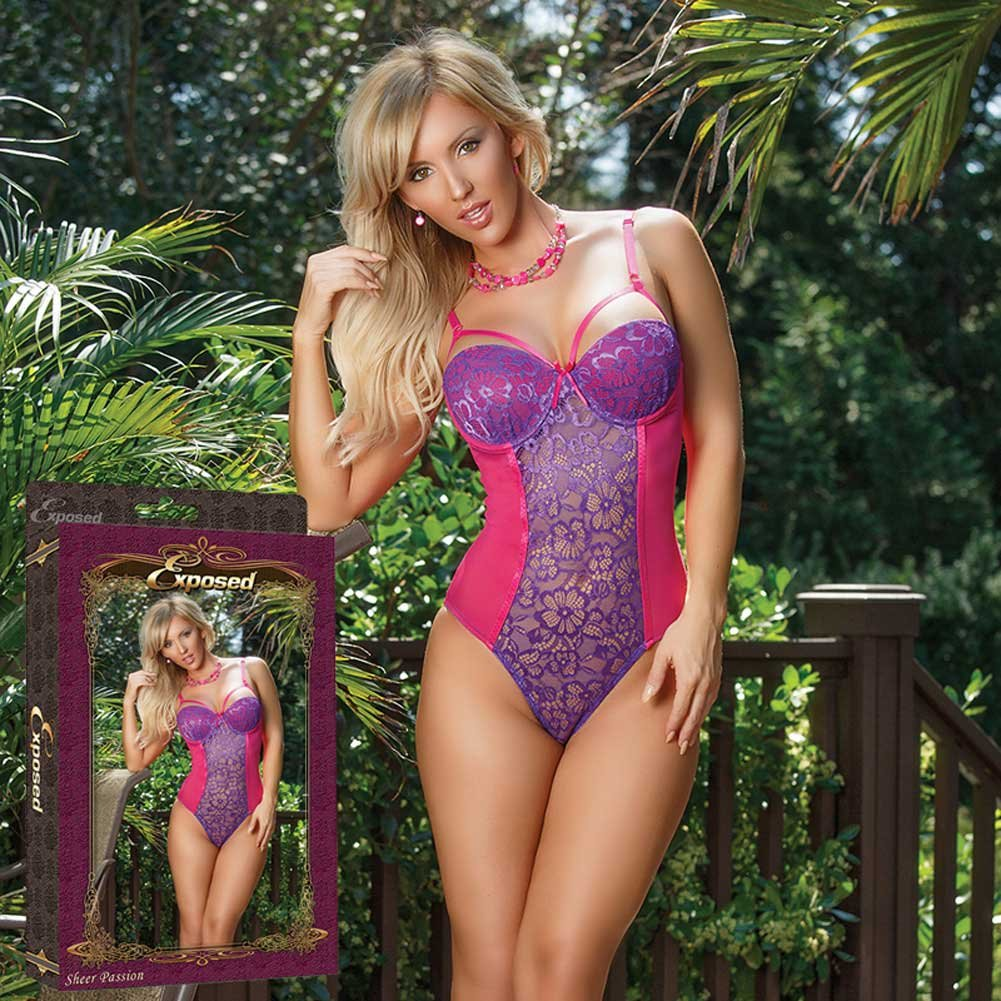 Sheer Passion Teddy W Snap Crtch Purple Extra Large - View #4