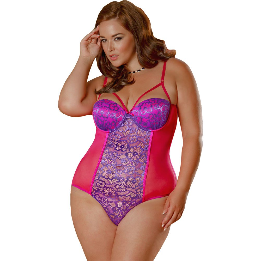 Sheer Passion Teddy with Snap Crotch 3X/4X Plus Purple - View #1