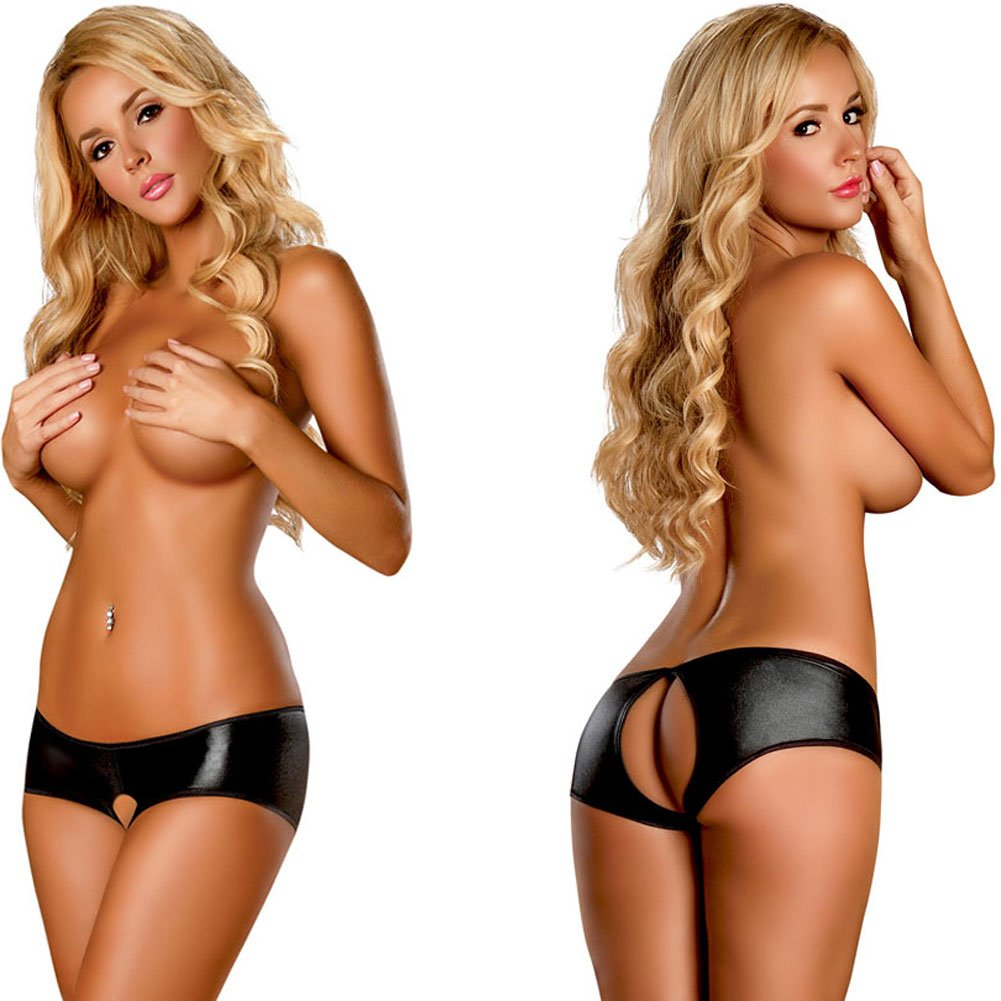 Booty Pack Split Back Crotchless Boy Short Panty 3 Piece Pack Small/Medium Black - View #4