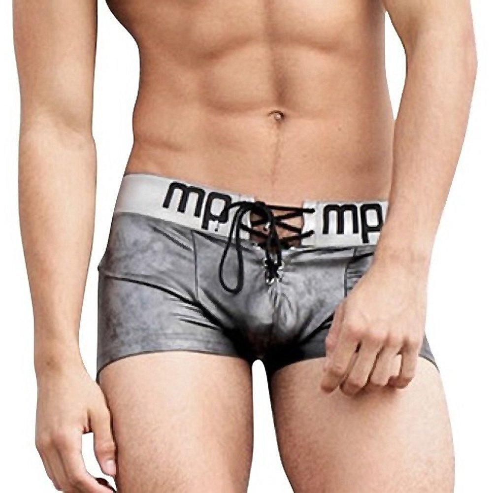 Male Power Molten Steel Lace Up Short Grey Medium - View #1