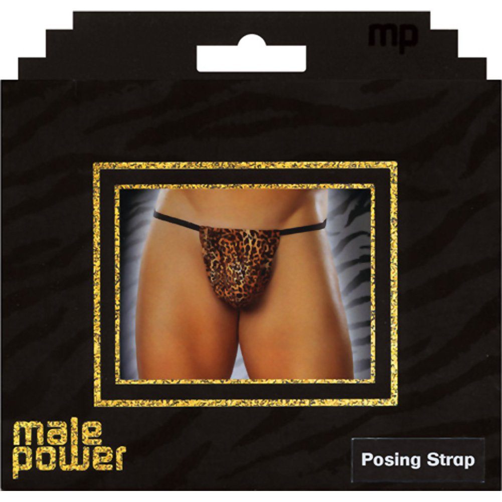 Male Power Animal Posing Strap One Size Brown Leopard - View #2