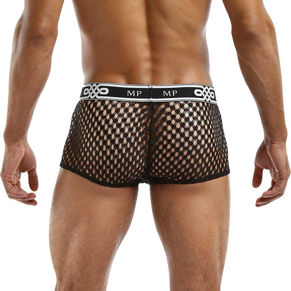 Male Power Sheer Fishnet Mini Short Small Black - View #2