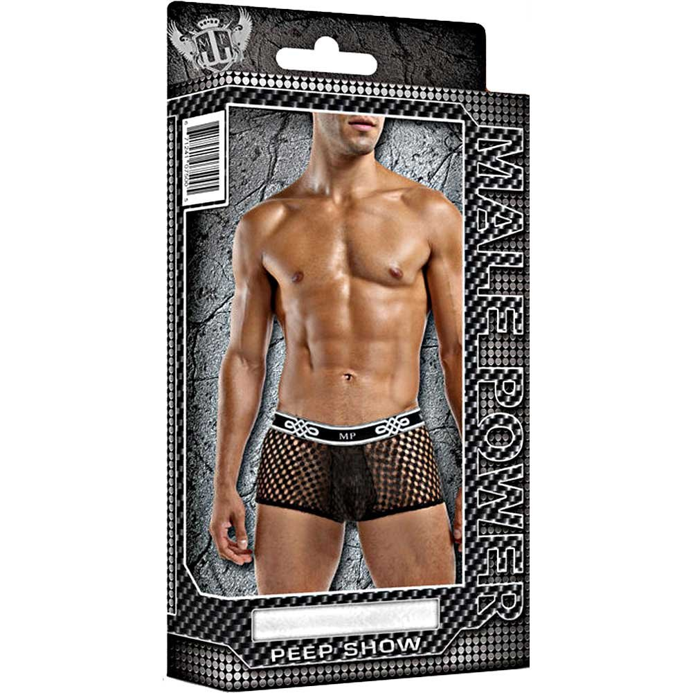 Male Power Sheer Fishnet Mini Short Extra Large Black - View #3