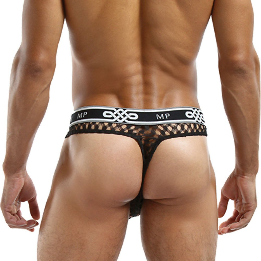 Male Power Lo Rise Thong Large/Extra Large Black - View #2