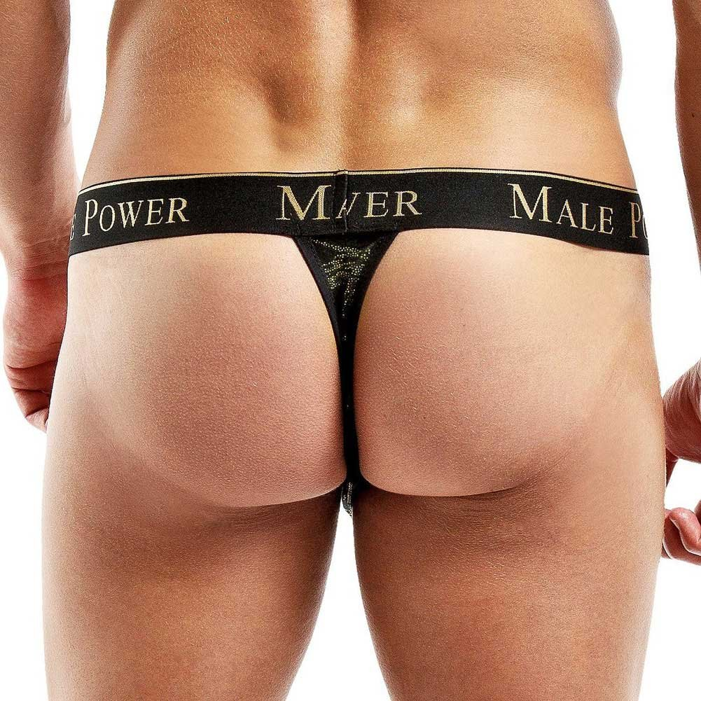 Male Power Enrichment Thong Small/Medium Black Gold - View #2
