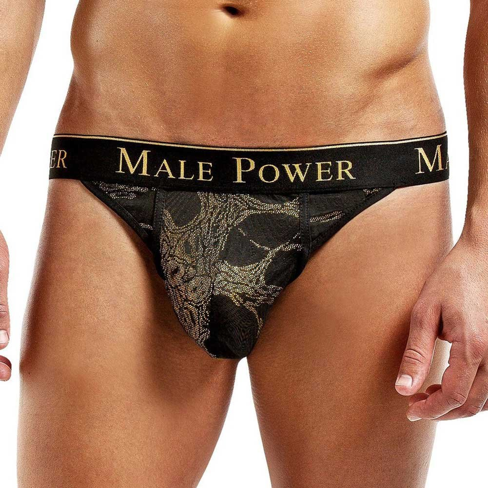Male Power Enrichment Thong Large/Extra Large Black Gold - View #1