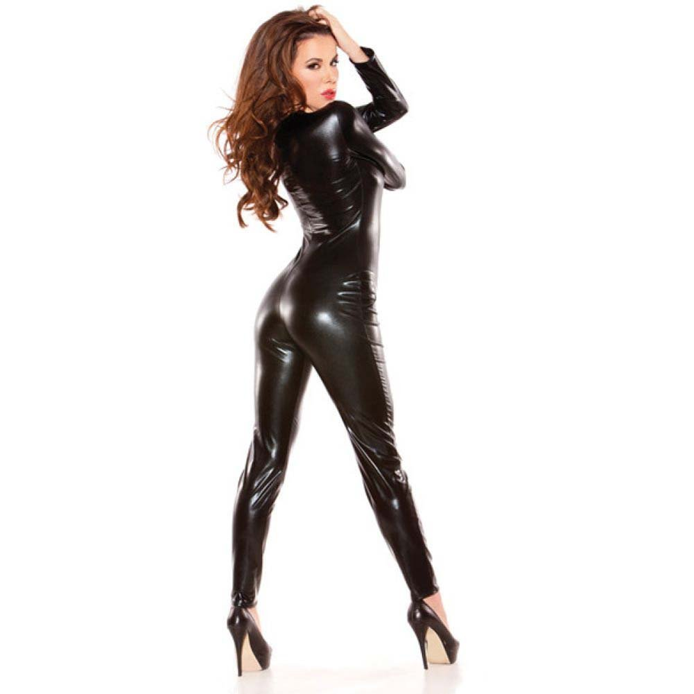 Kitten Wet Look Catsuit One Size Black - View #2