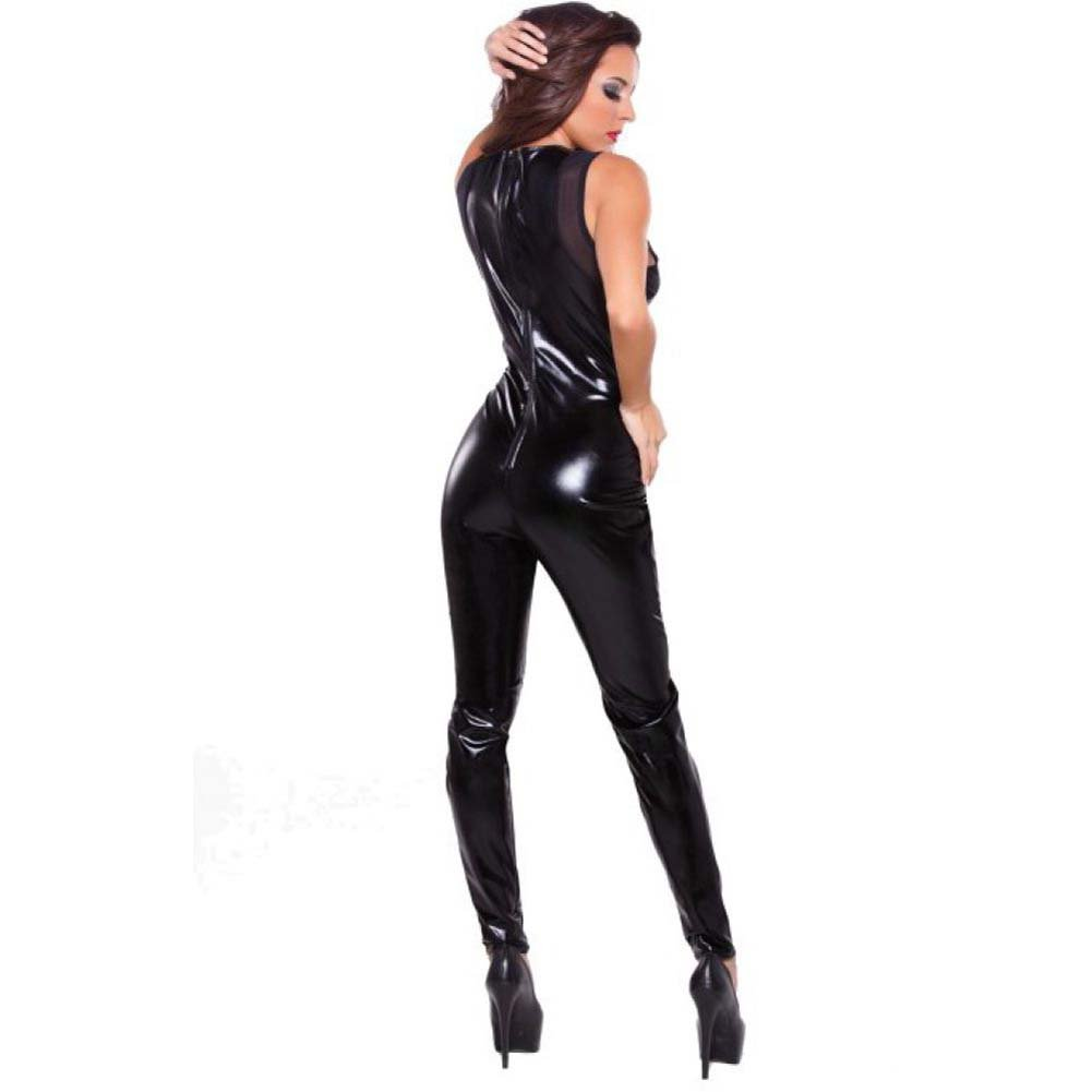 Kitten Wet Look and Front V Mesh Catsuit Black One Size - View #2