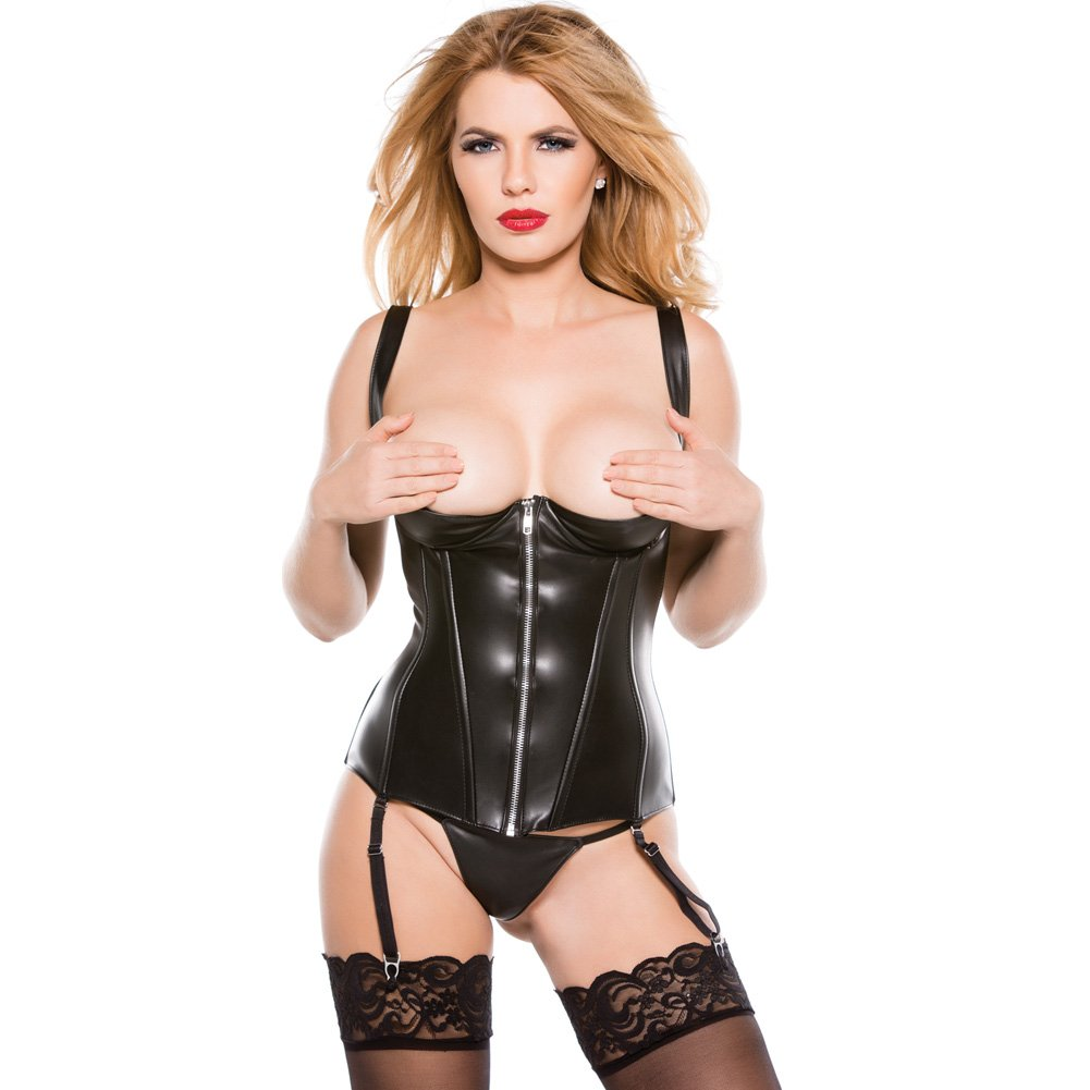 Faux Leather 1/4 Cup Corset Black Small - View #1