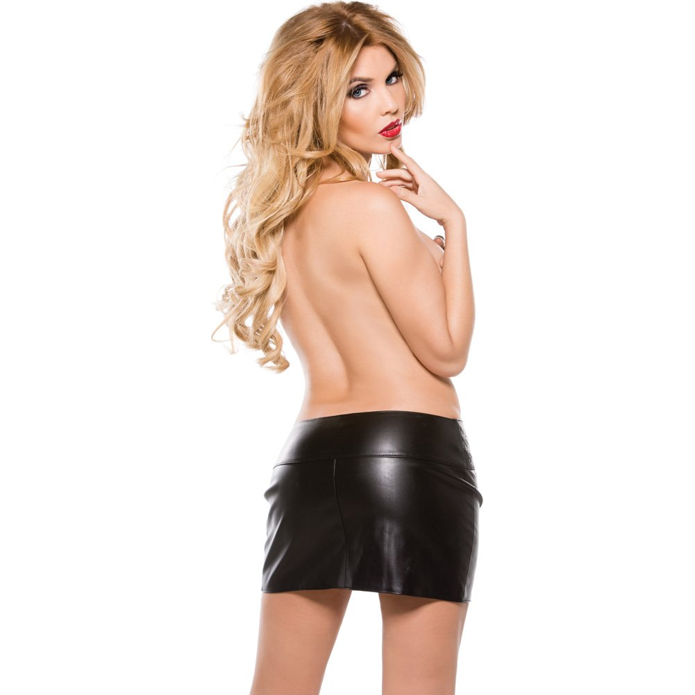 Faux Leather Zipper Skirt Black Small - View #4