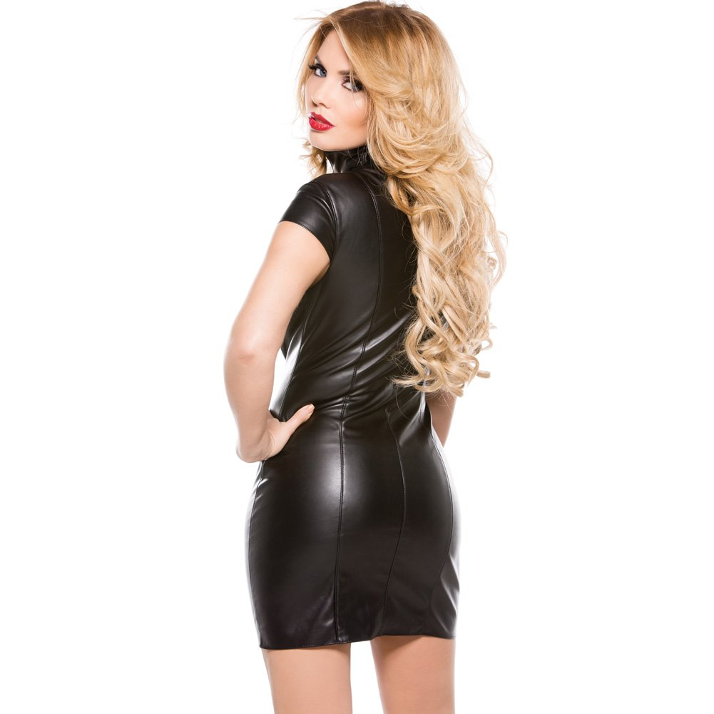 Faux Leather Dress Black Small - View #2