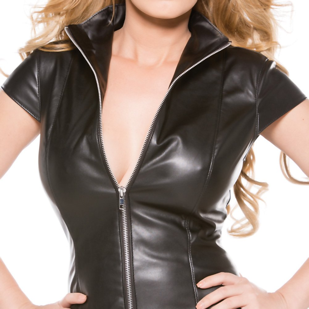 Faux Leather Dress Black Small - View #4