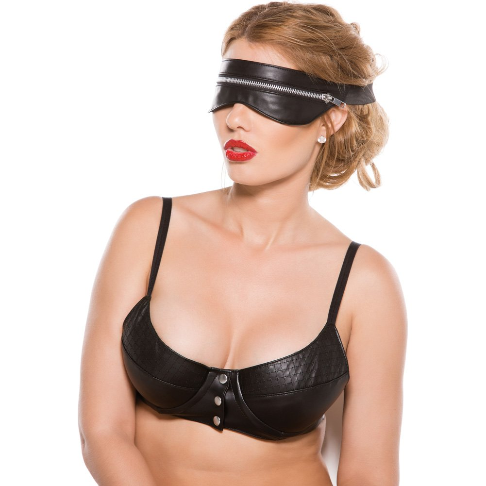 Black Faux Leather Zip Mask One Size - View #3