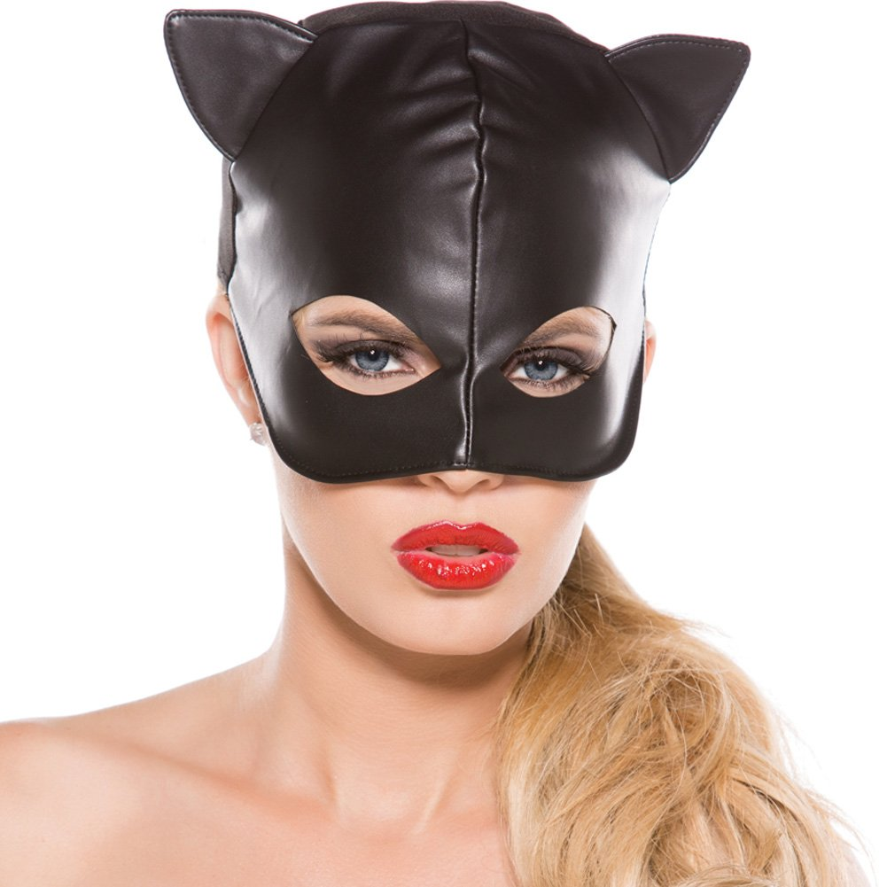 Faux Leather Cat Mask Black One Size - View #1