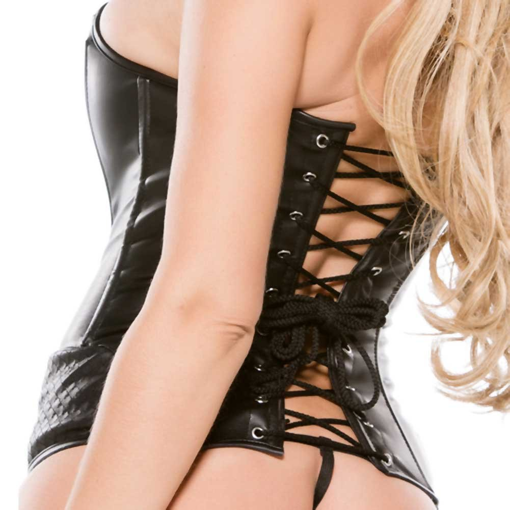 Faux Leather Corset Black Large - View #4