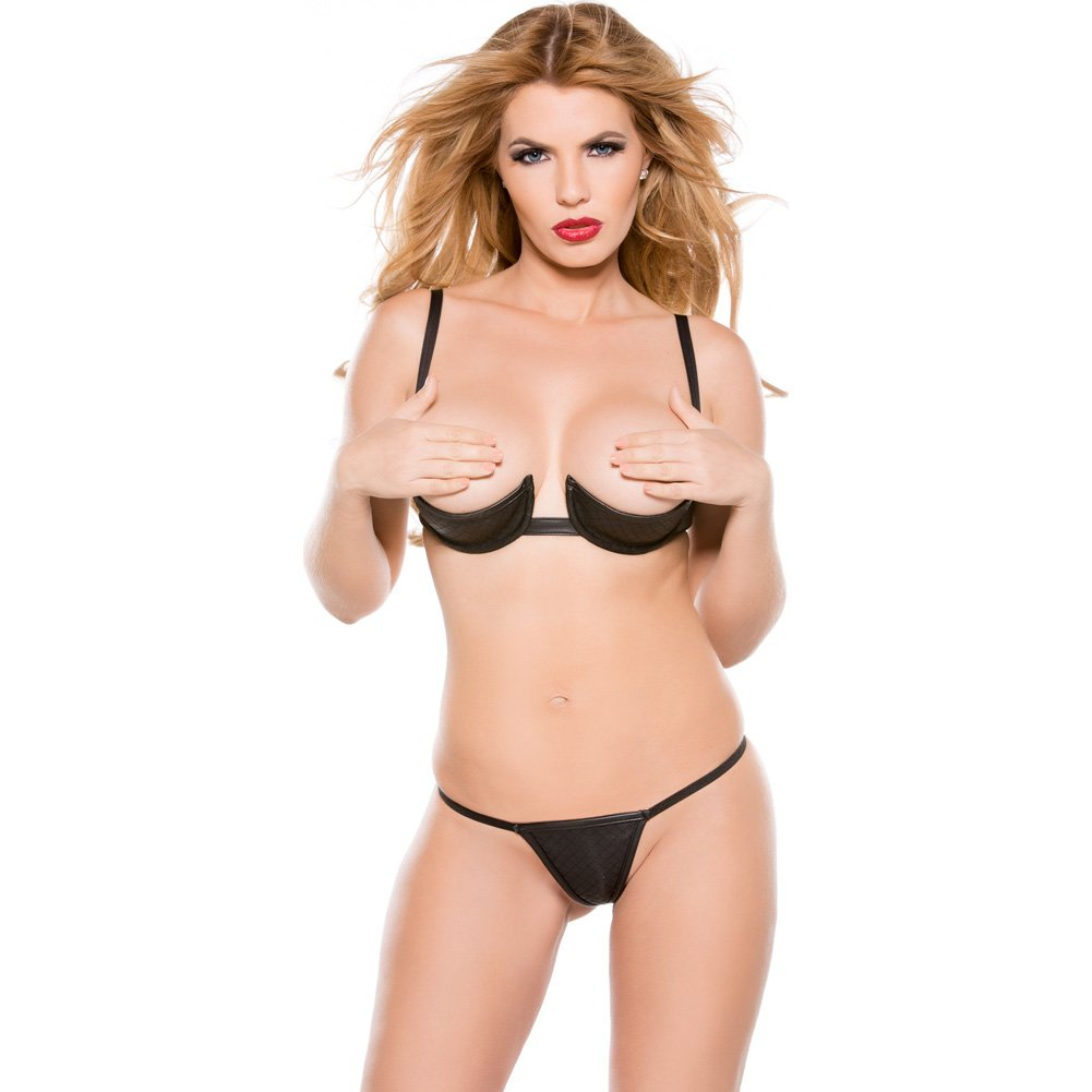 Faux Leather 1/4 Bra and G-String Set Black Extra Large - View #1