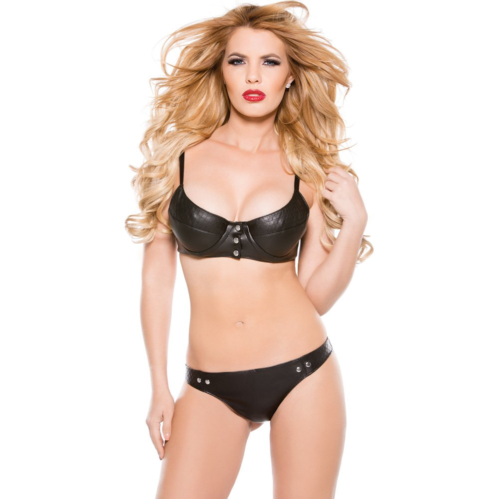 Faux Leather Snap Front Bra and Thong Set Black Medium - View #1