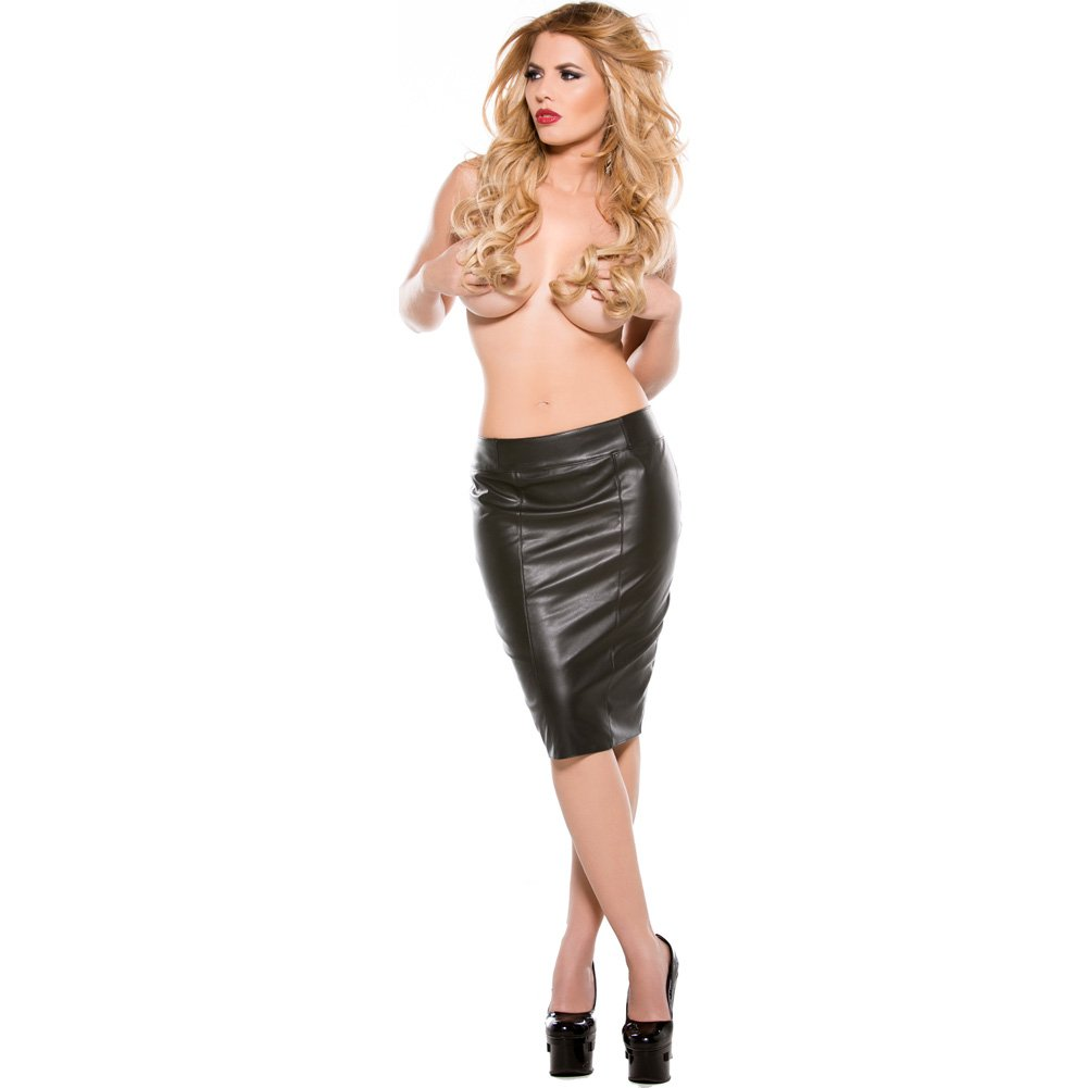 Faux Leather Pencil Skirt Black Large - View #4