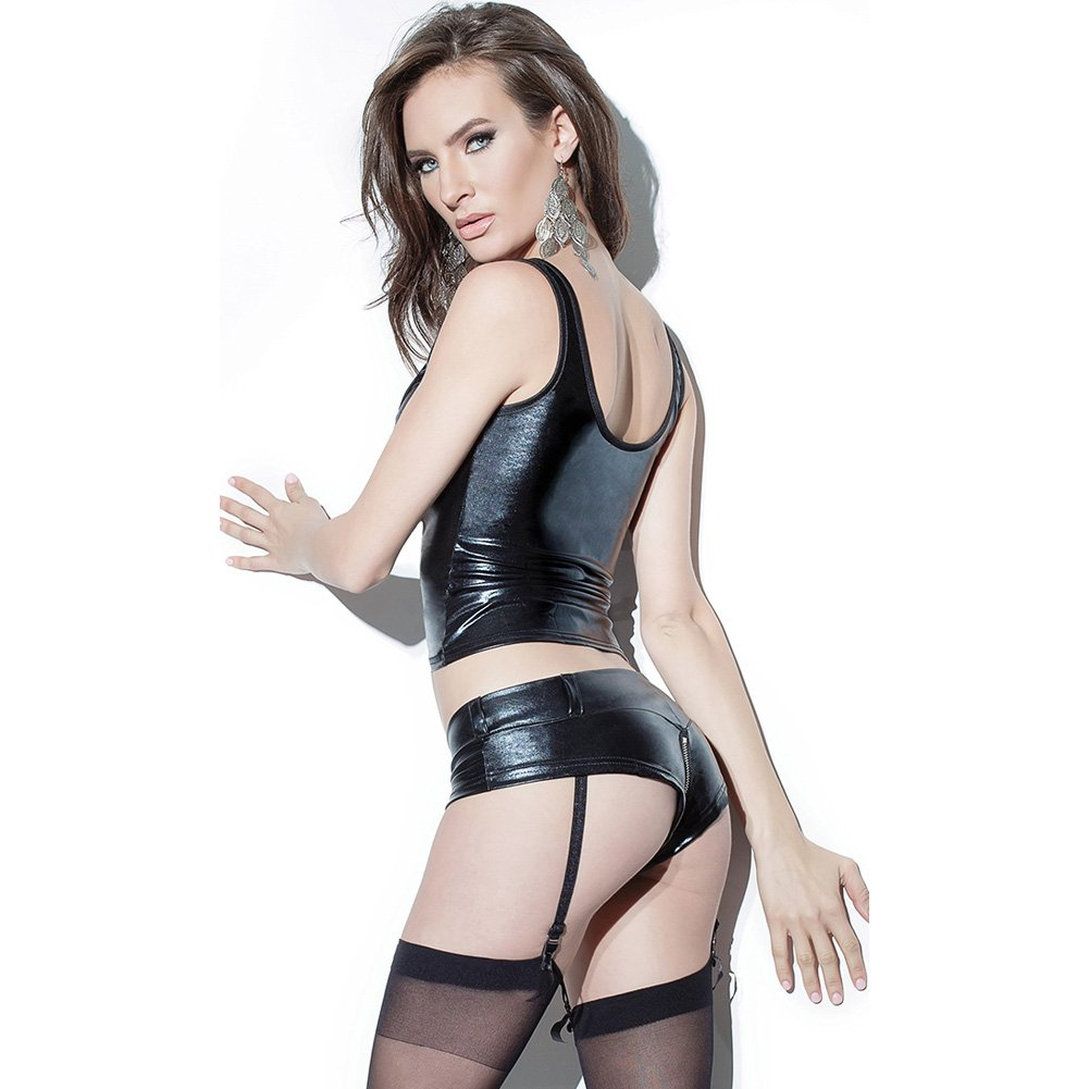Darque Wet Look Booty Short with Front to Back Zipper and Removable Garters Black Small - View #4