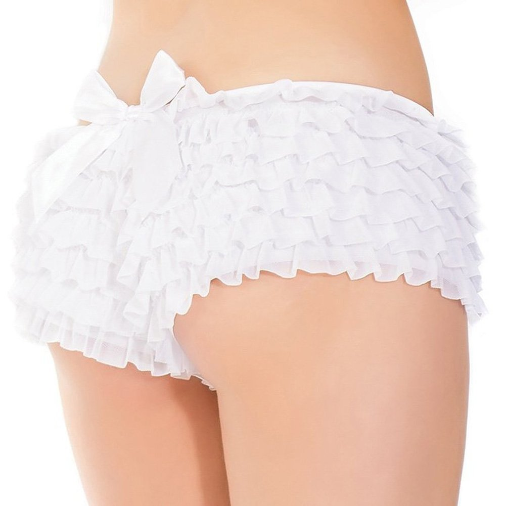 Ruffle Shorts with Back Bow Detai White One Size - View #1