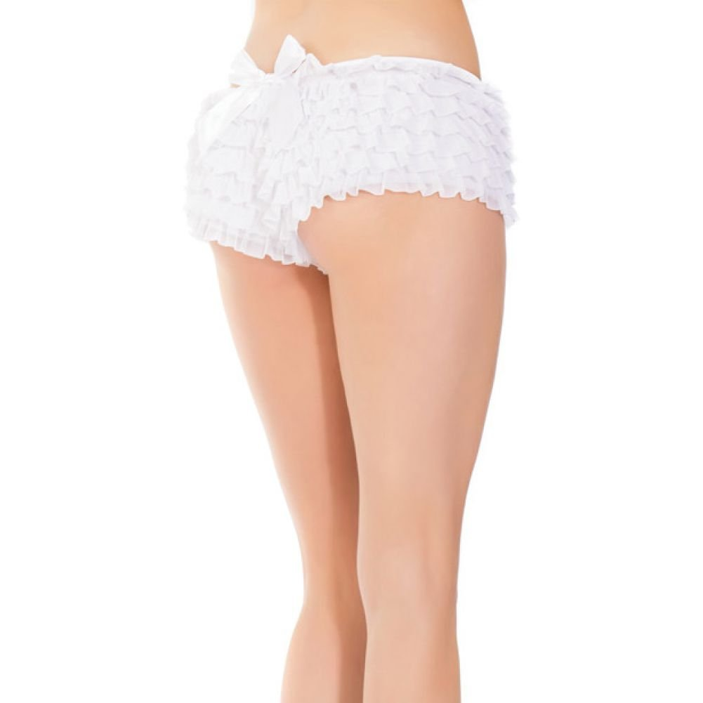 Ruffle Shorts with Back Bow Detai White One Size - View #3