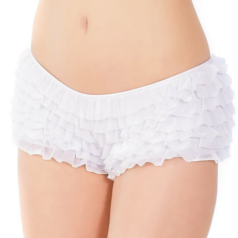 Ruffle Shorts with Back Bow Detail White One Size Extra Large - View #2