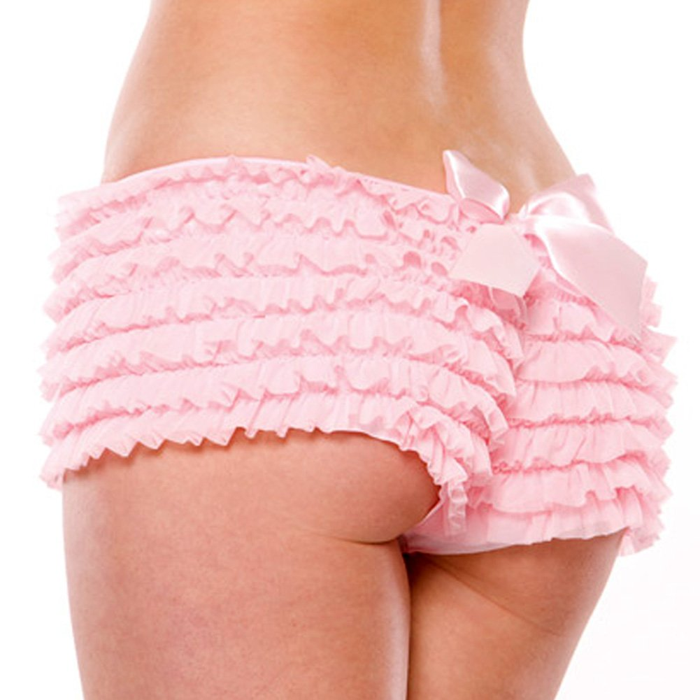 Coquette Lingerie Ruffle Shorts with Back Bow Detail Extra Large Pink - View #1