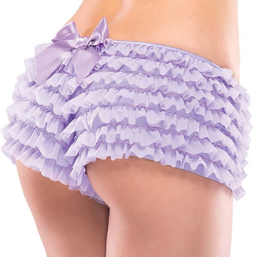 Ruffle Shorts with Back Bow Detail Lilac One Size Extra Large - View #1