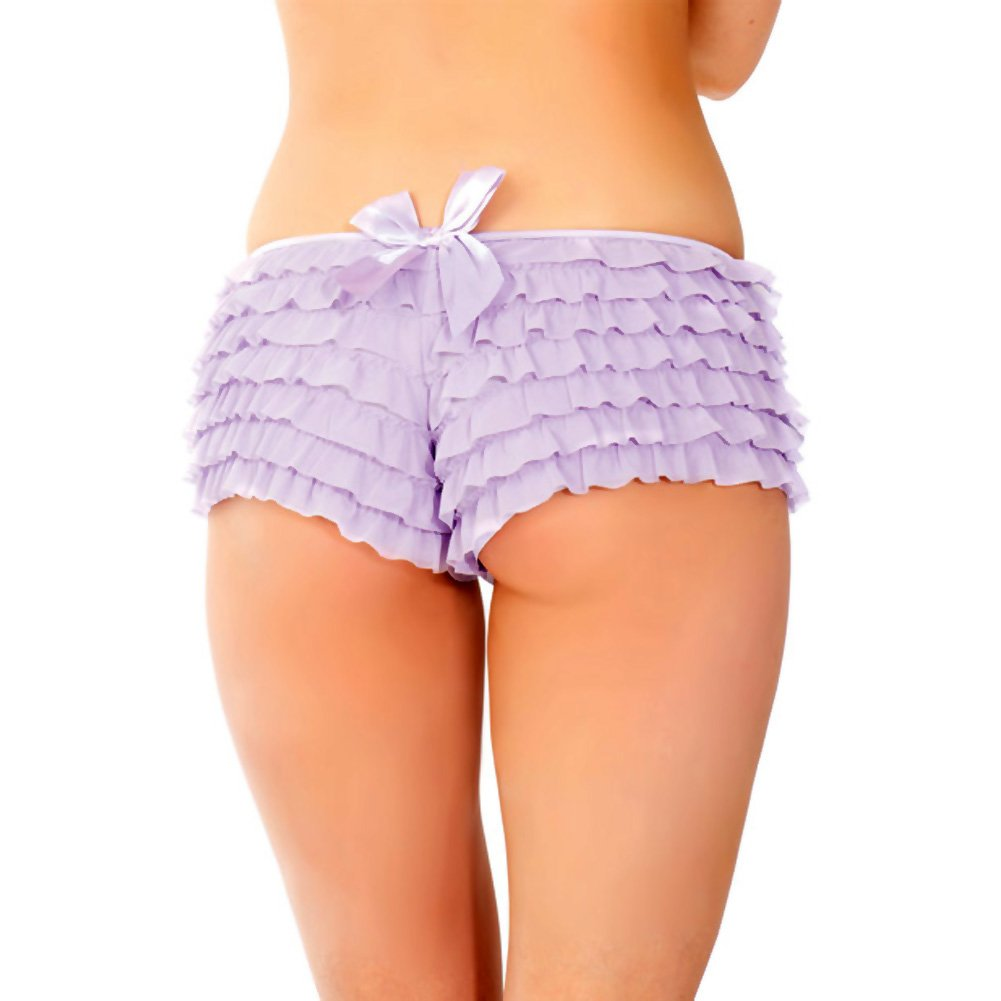 Ruffle Shorts with Back Bow Detail Lilac One Size Extra Large - View #3