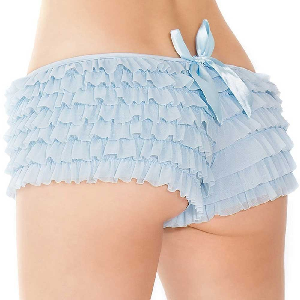 Coquette Lingerie Ruffle Shorts with Back Bow Detail Extra Large Blue - View #1