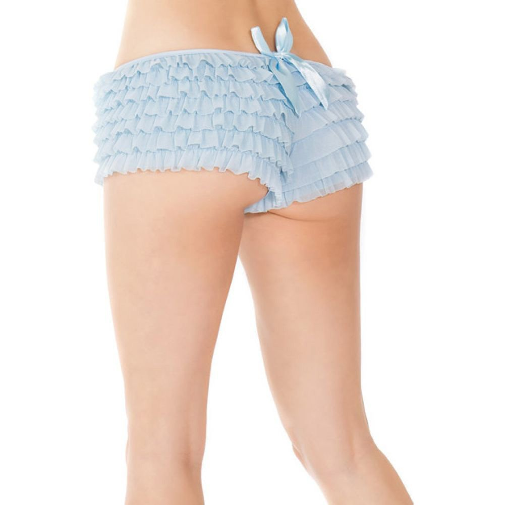Coquette Lingerie Ruffle Shorts with Back Bow Detail Extra Large Blue - View #3