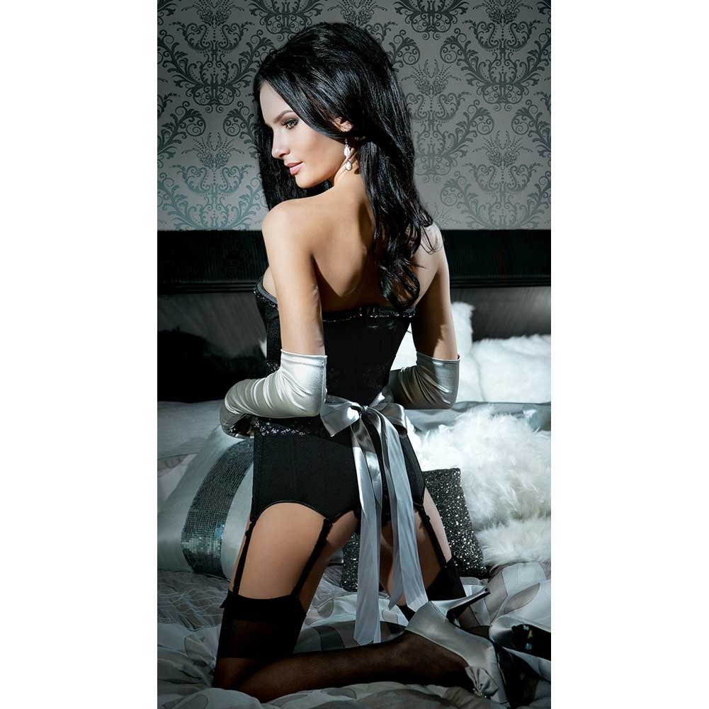 Spellbound Fully Boned Corset with Six Garters Removable Straps and Ribbon Restraints Large - View #4