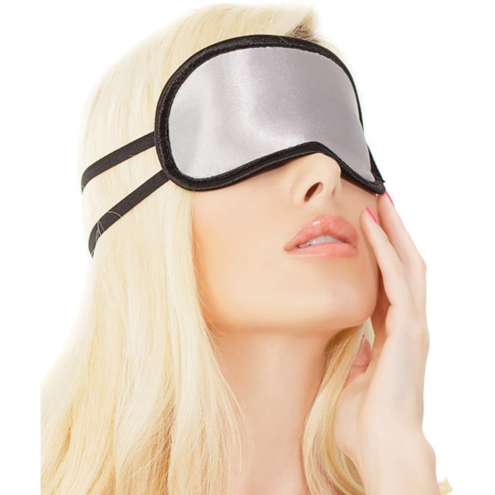 Satin Eye Mask with Double Strap Silver Black One Size - View #1