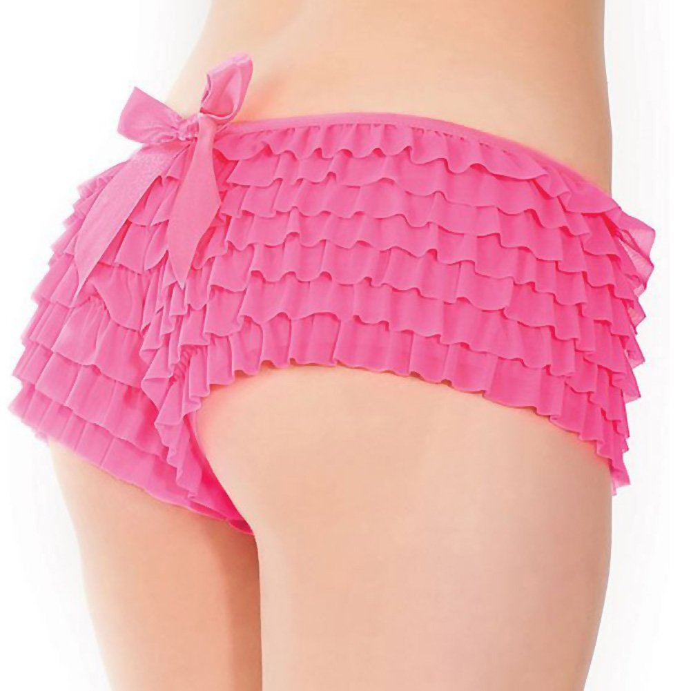 Coquette Lingerie Ruffle Shorts with Back Bow Detail Extra Large Neon Pink - View #1